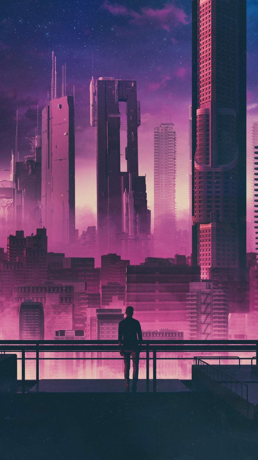 Future City And Man Iphone Wallpaper City Painting Abstract City City Art