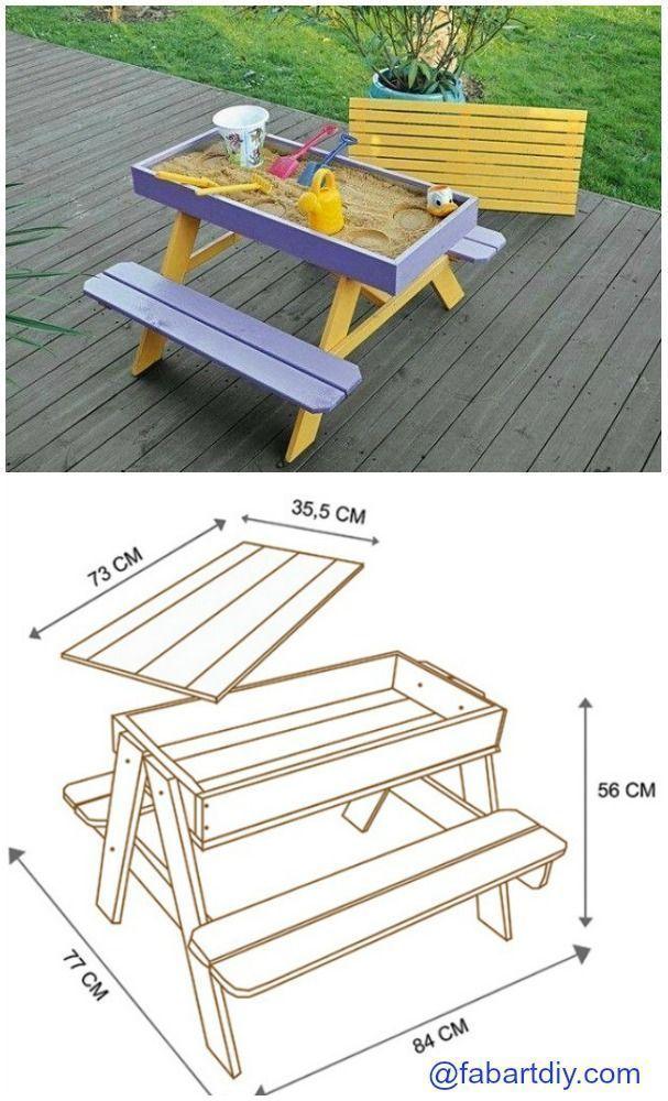 Diy Sandkasten Picknicktisch Plan Holzarbeit Outdoor Kinder Diy Holzarbeit Kinder Outdoor Table De Pique Nique Palette Diy Projets D Ebenisterie