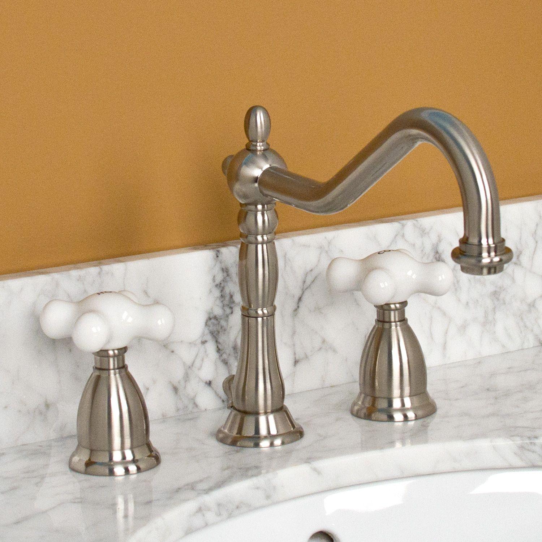 Victorian Widespread Bathroom Faucet - Porcelain Cross Handles ...