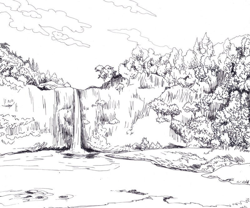 Landscape Drawing Including Trees River Mountain Houses Etc Landscape Drawings Mountain Drawing Drawings