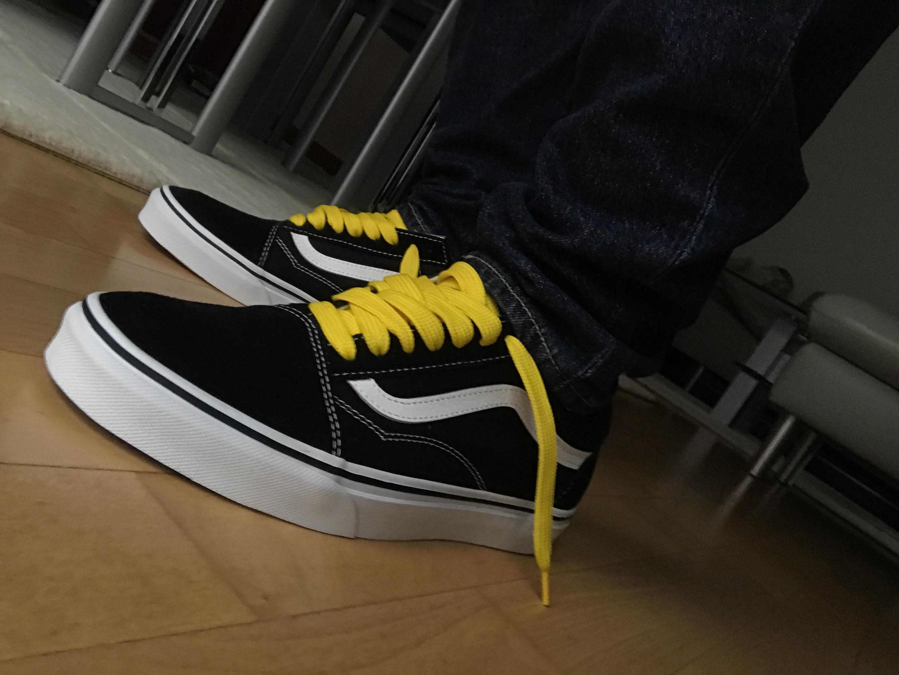 yellow laces in the vans | Yellow lace