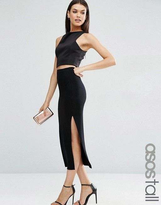 ASOS Tall | ASOS TALL Longer Length Midi Pencil Skirt with Thigh Split