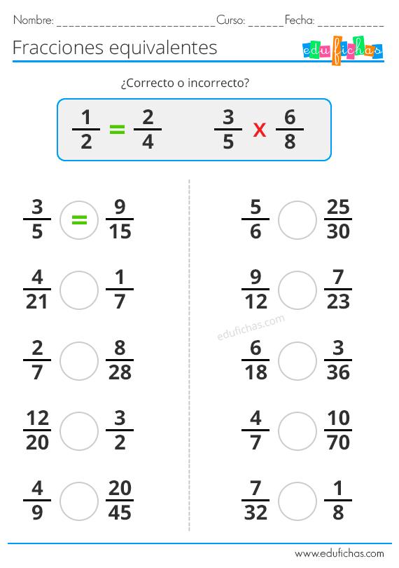 Fracciones Equivalentes Ejercicios De Fracciones Fracciones Para Primaria Fracciones