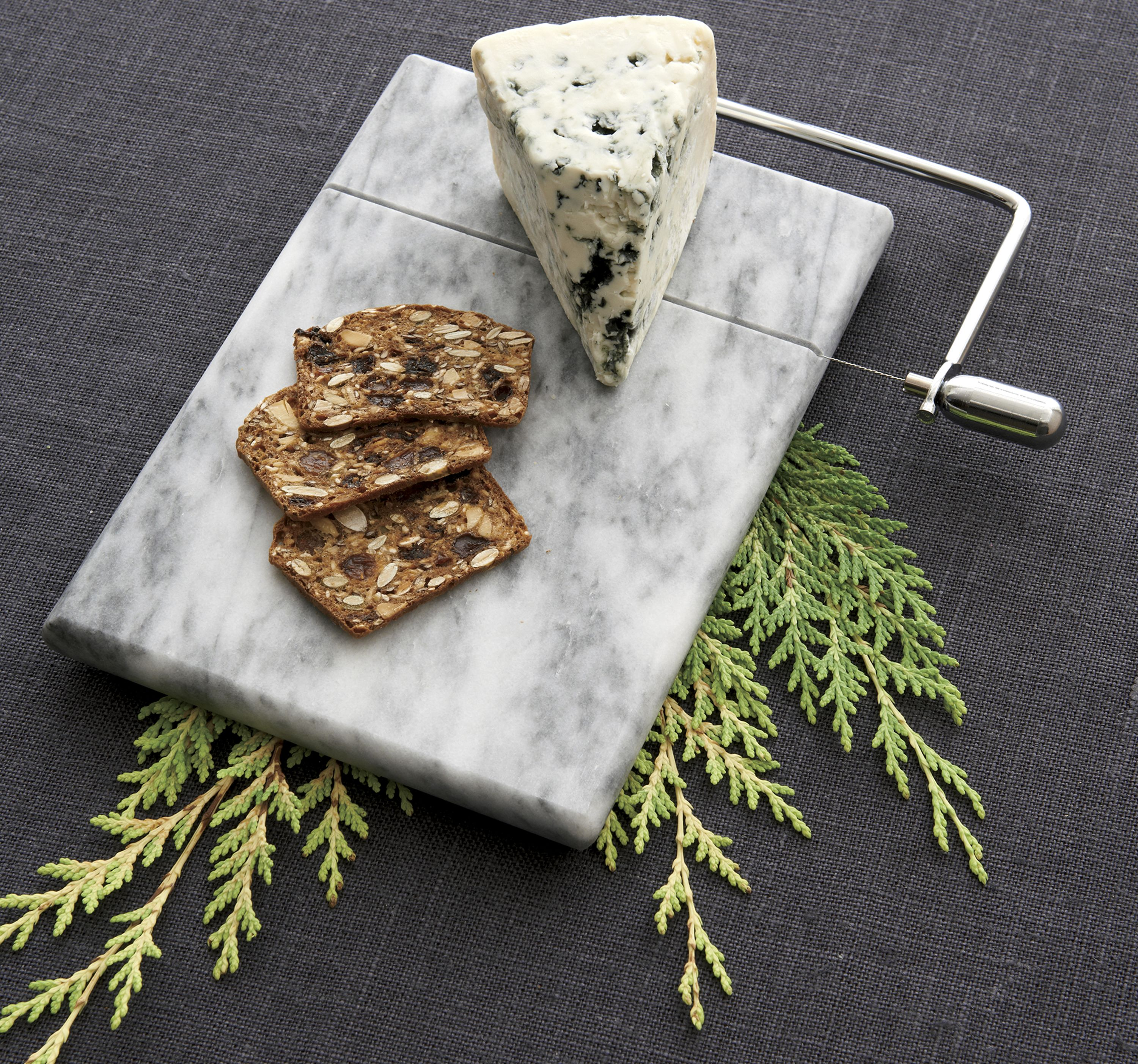 French Kitchen Marble Cheese Board With Slicer Holiday