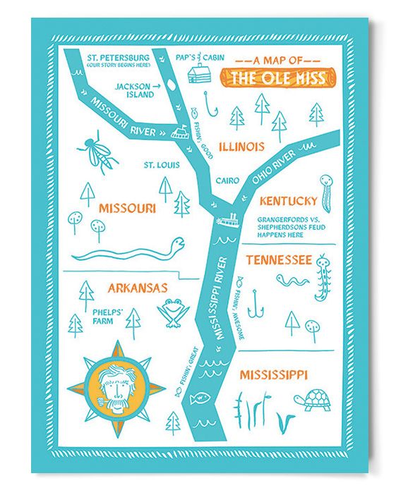 Map of the Ole Miss (Limited Edition) - childrens art ...