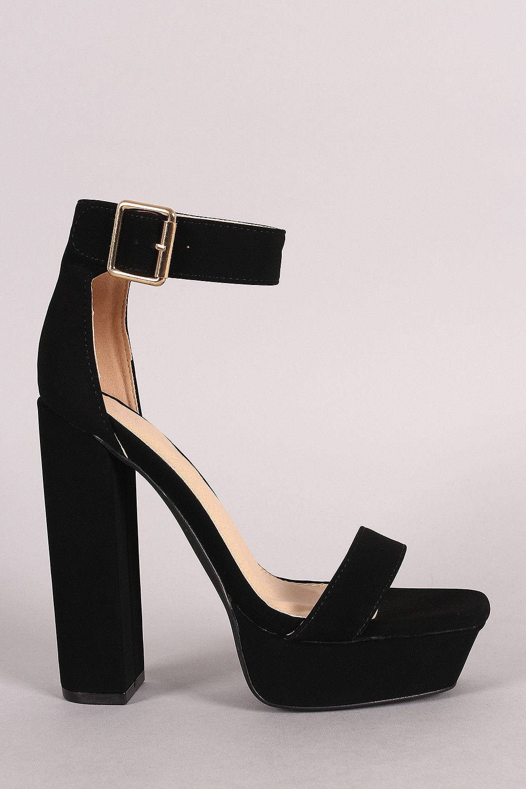 7d75d63c549d Liliana Nubuck Buckled Ankle Strap Chunky Platform Heel. Description This trendy  heel features a square open toe ...