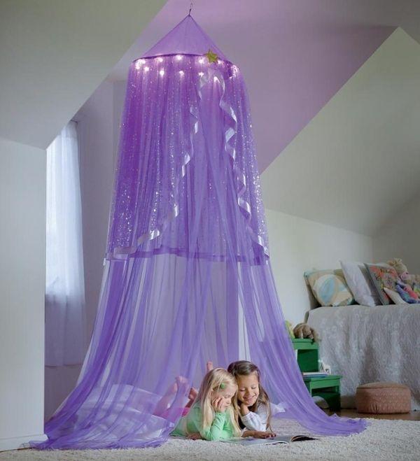 Purple Lighted Canopy Little Girls Room Ideas