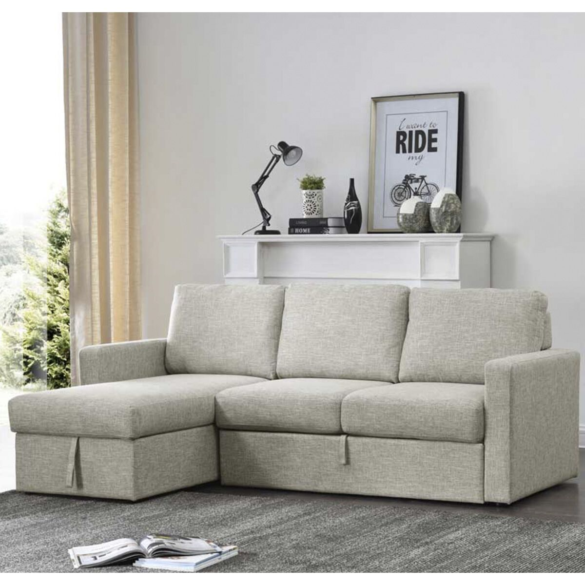 Gatsford Corner Sofa Bed With Storage Chaise Natural In 2020