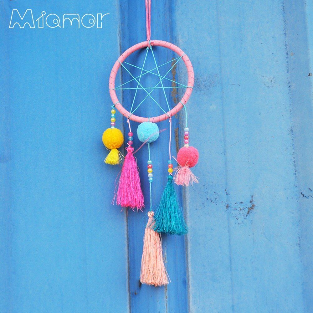 Colorful Pompom Dreamcatcher and Wind Chimes Home Wall Hanging Ornament Kid's Bedroom Pendant Decor Gift for Children AMOR7067. #Styles #Dreamcatcher #Wind #Chimes #Dream #Catcher #Wall #Hanging #Party #Wedding #Decoration #Pendant #Home #Decor #Ornament