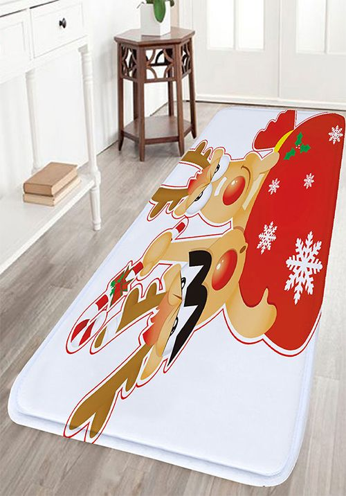 Christmas Deer Print Flannel Antislip Bath Rug - Quality bath rugs for bathroom decorating ideas