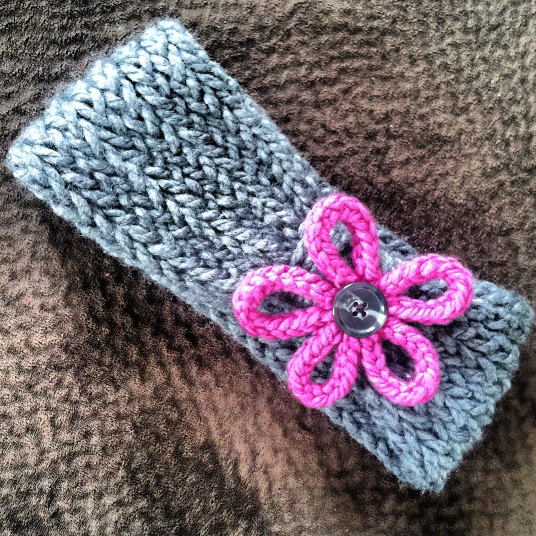 Loom Knitting Ear Warmer Head Band In Gray And Pink Knitting