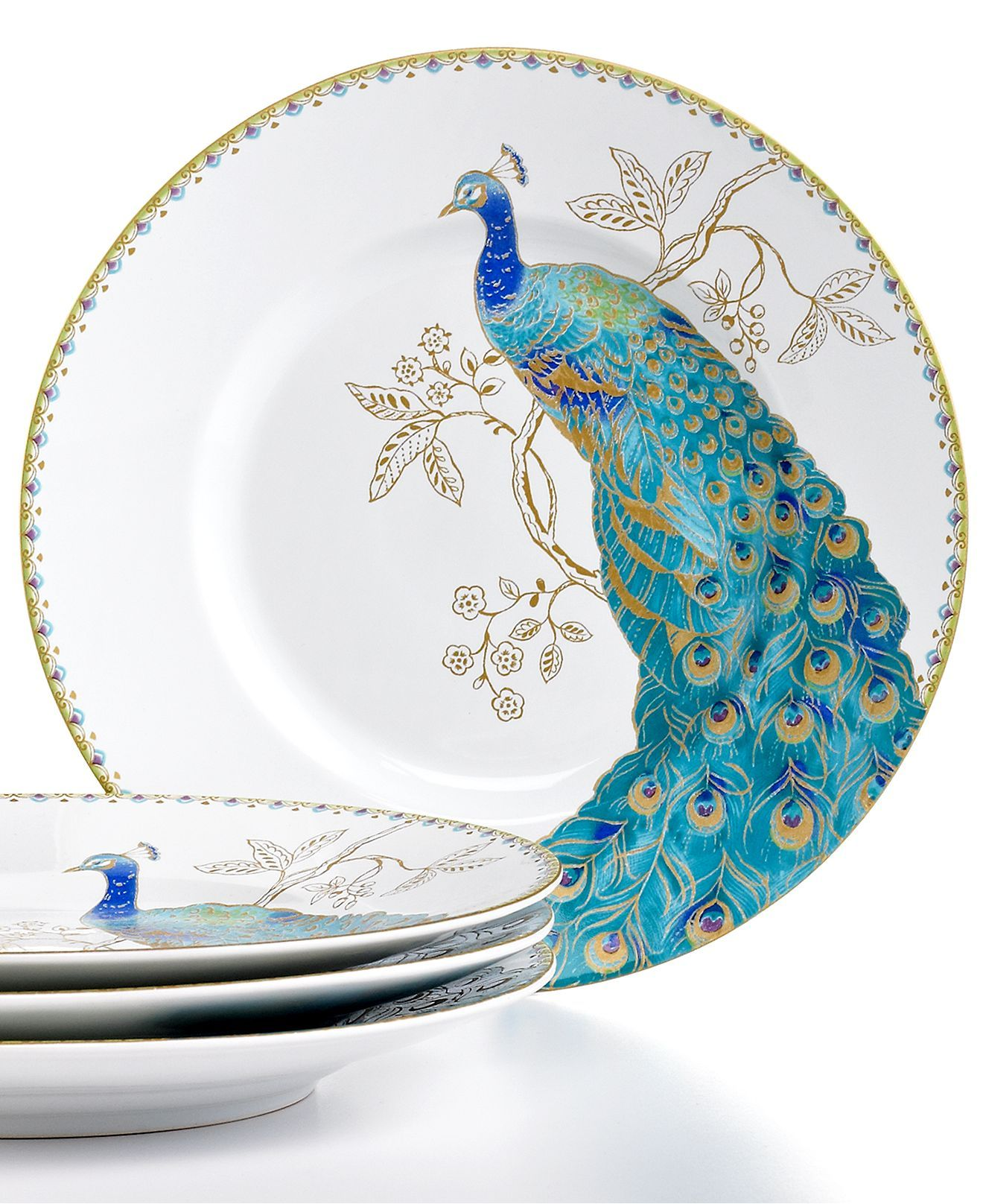222 Fifth Dinnerware Set of 4 Peacock Garden Salad Plates - Casual Dinnerware - Dining  sc 1 st  Pinterest & 222 Fifth Dinnerware Set of 4 Peacock Garden Salad Plates - Casual ...