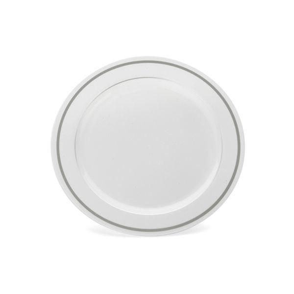 Simcha Chinalike 6 Inch Plastic Plate White Silver Case Of 120 Tags Dessert