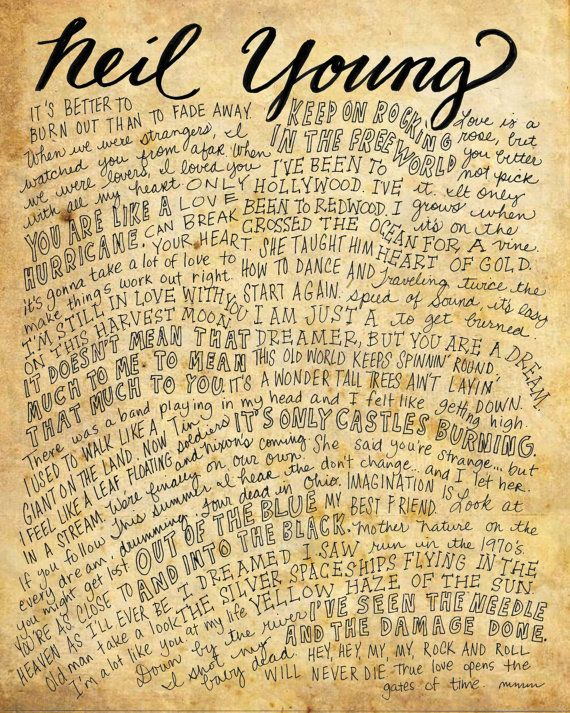Neil Young Lyrics and Quotes - 8x10 handdrawn and handlettered - 8x10 resume paper