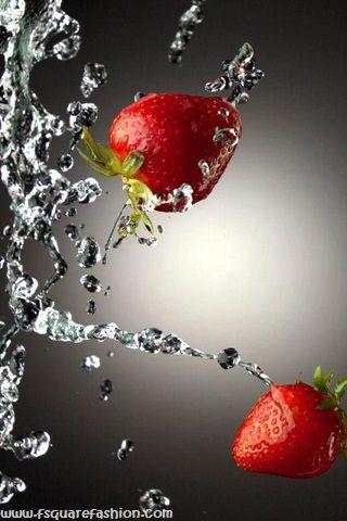 waterstrawberryHDIphoneWallpapers Фотография фруктов