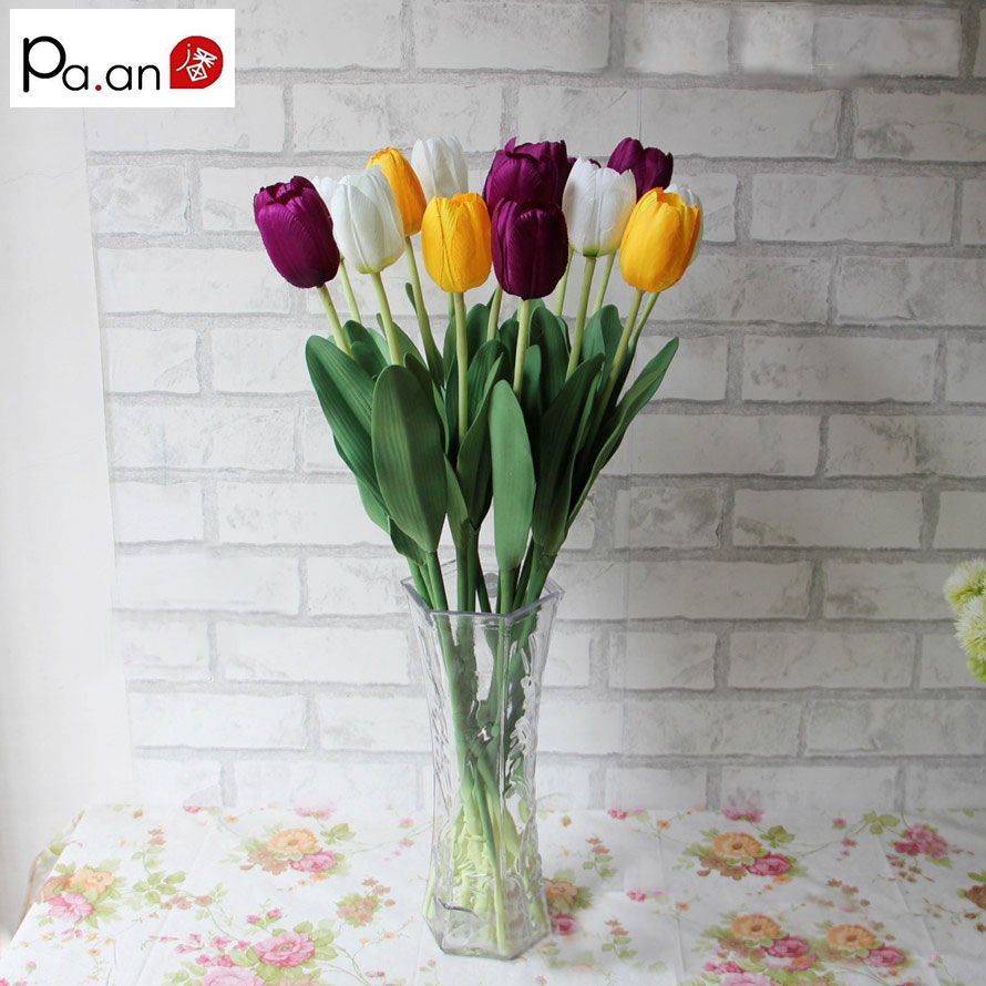 Free Shipping 5pcslot Fashion Single Branch Tulips Artificial
