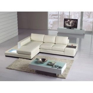 Mini White Bonded Leather Sectional W Built In Light Modern Sofa Sectional White Leather Sofas Modern Leather Sectional Sofas