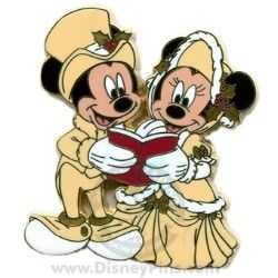 Disney Christmas Pin - Victorian Carolers - Mickey and Minnie