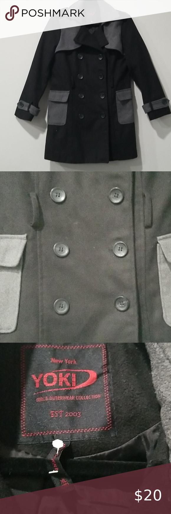 Yoki Girls Xl 16 Black Wool Leather Moto Jacket Leather Moto Jacket Black Wool Yoki [ 1740 x 580 Pixel ]