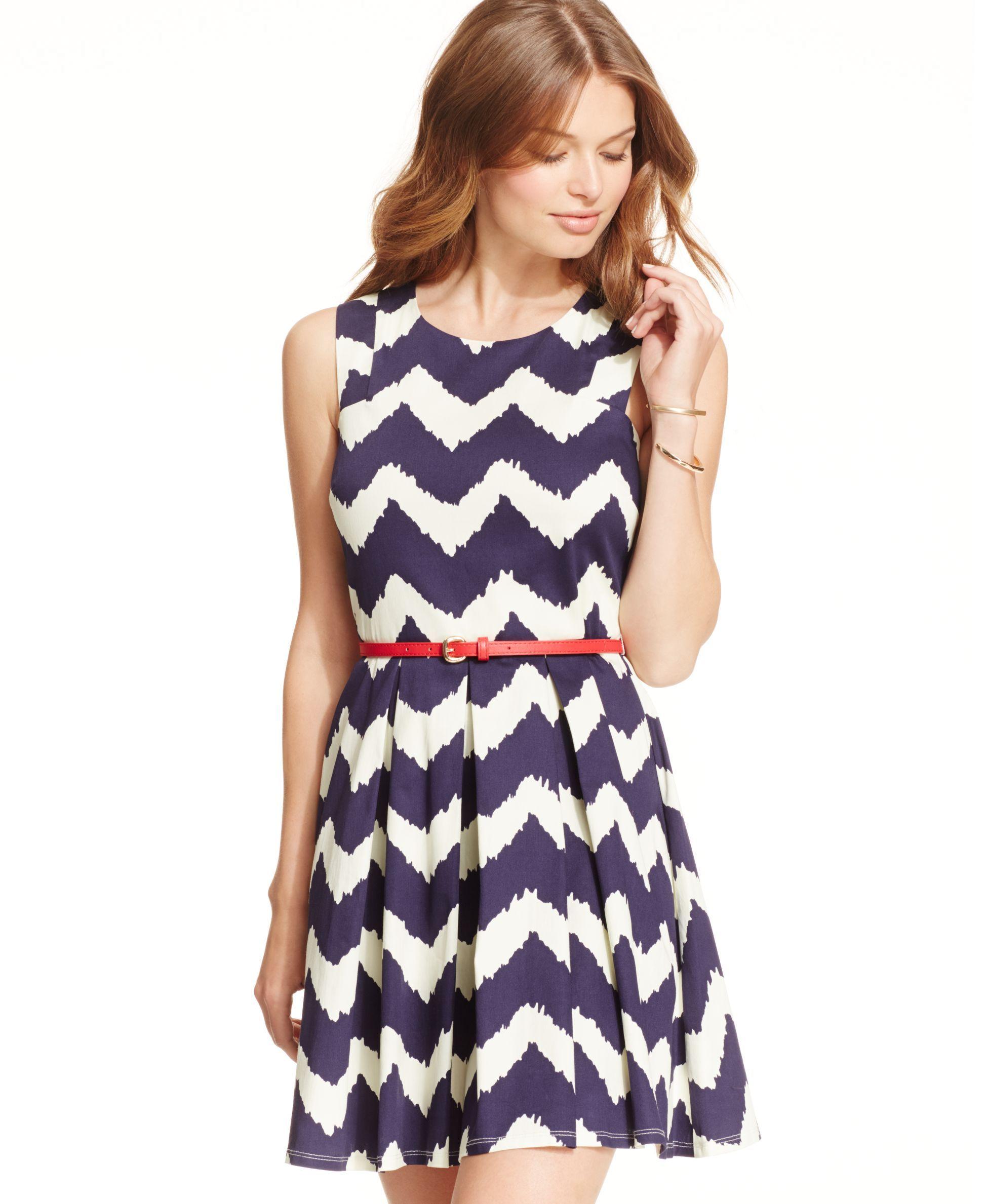 City Studios Juniors\' Pleated Chevron-Print Tank Dress | Products ...