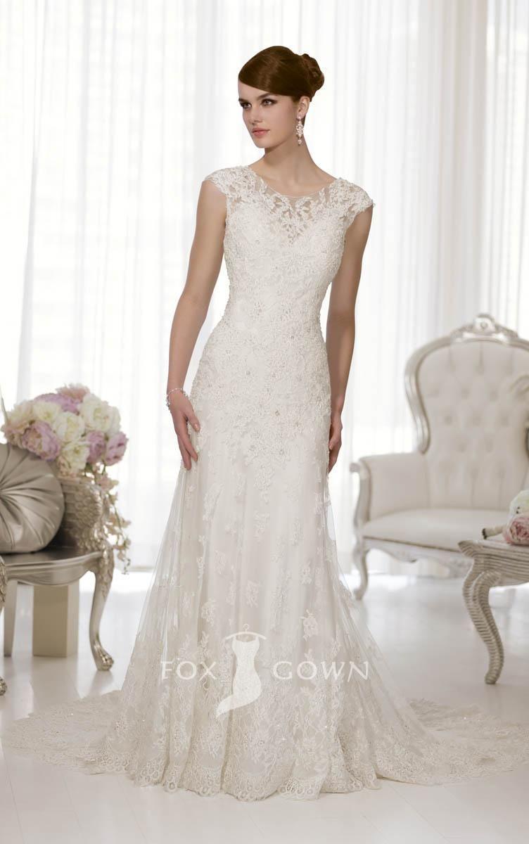antique lace cap sleeve crew neck a-line low back wedding dress ...
