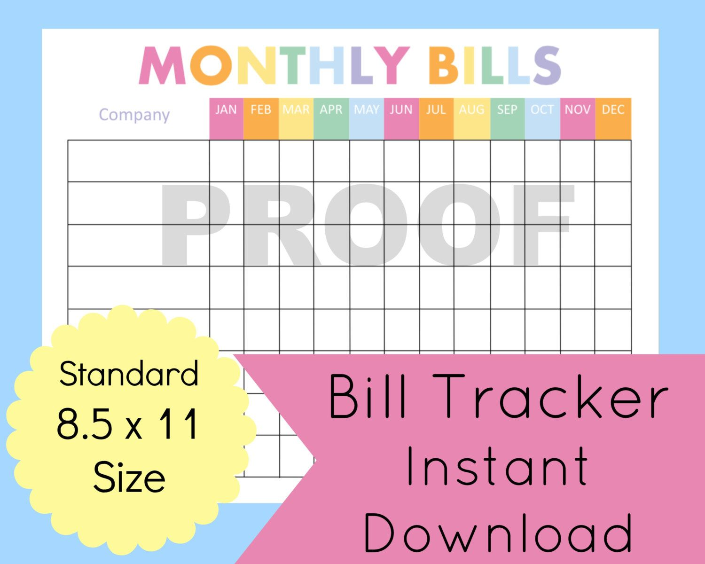 Monthly Bill Organizer Printable Expense Tracker Bill