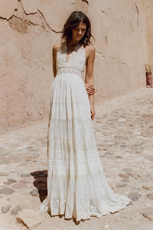 Angelica Halter Gown Backless Bridal Gowns Bohemian Chic Weddings Halter Wedding Dress