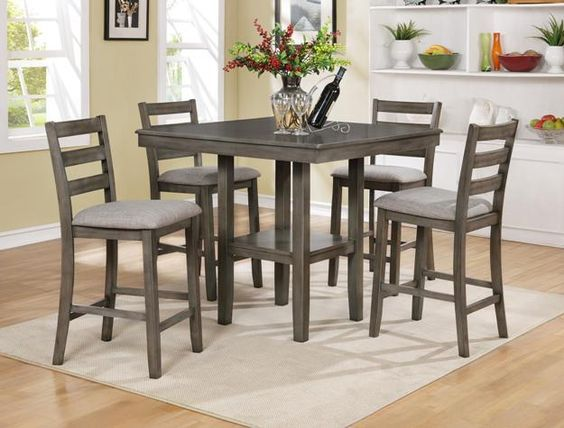 Tahoe Driftwood Grey 5pc Counter Height Dinette Set 429 Table 40