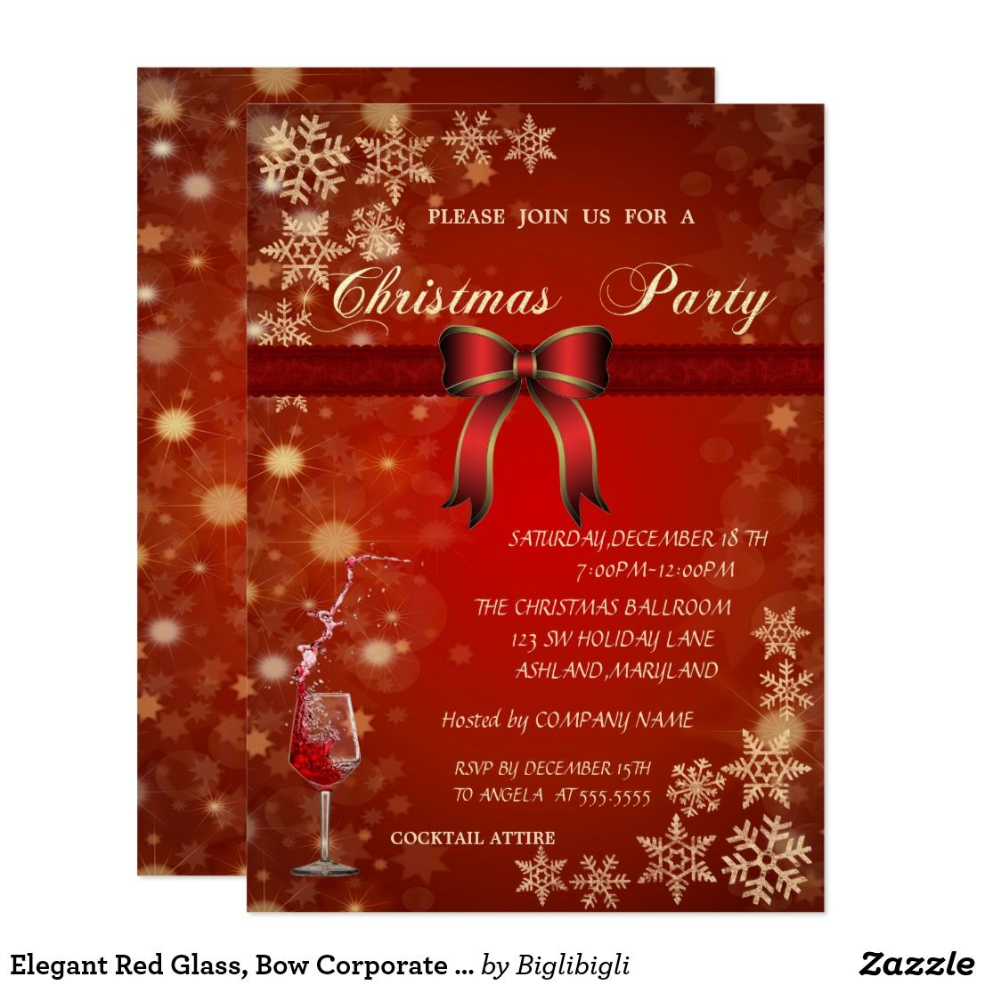 Elegant Red Glass Bow Corporate Christmas Party Invitation