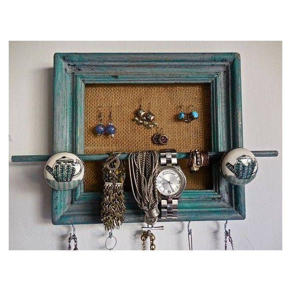 Wall Jewelry Organizer Holder Shabby Chic Wood Repurposed Frame
