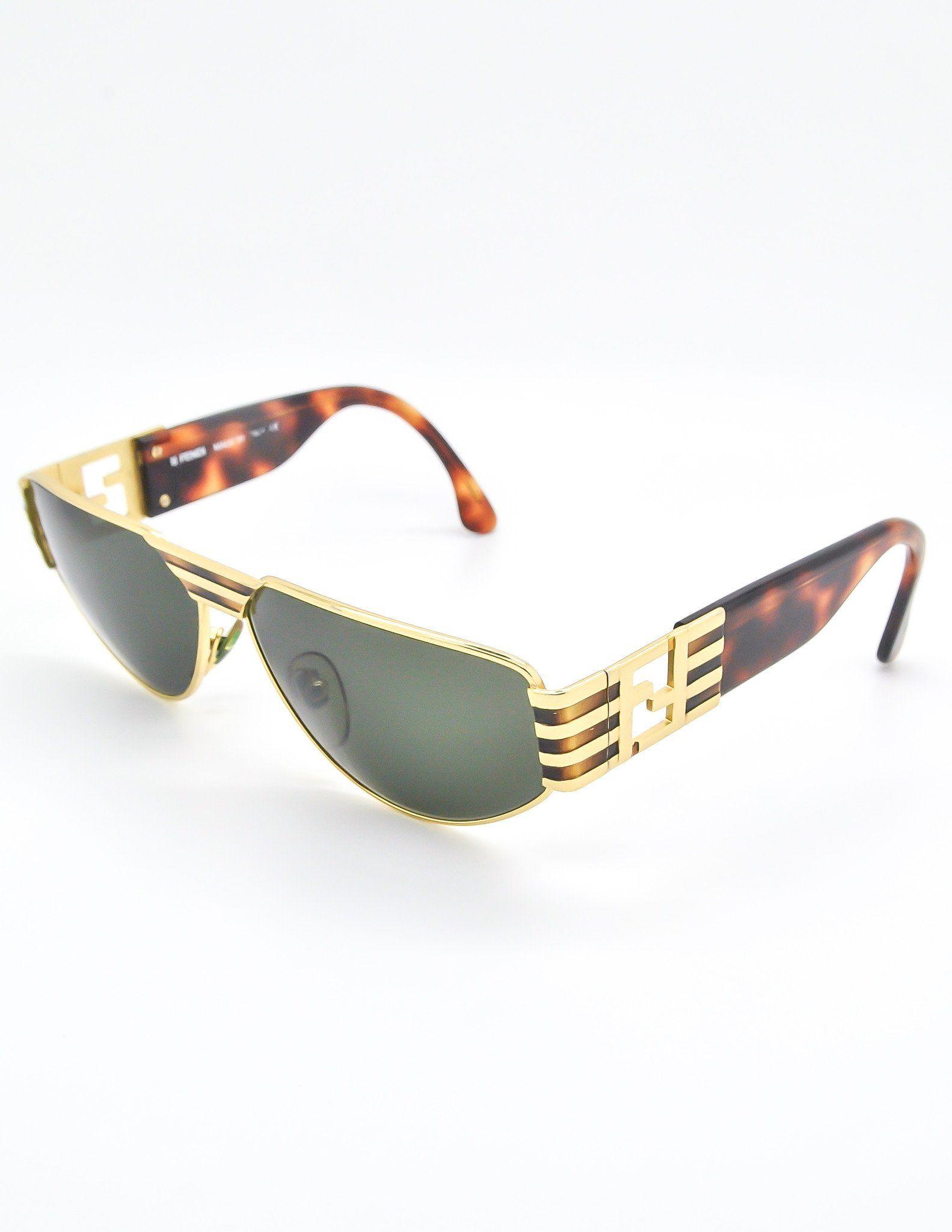fda27633064c Fendi Vintage Gold Tortoise Logo Sunglasses FS 214 | #Shade | Fendi ...