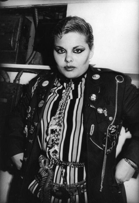 Woman wearing punk rock clothing at The Vex nightclub, Los Angeles, 1980