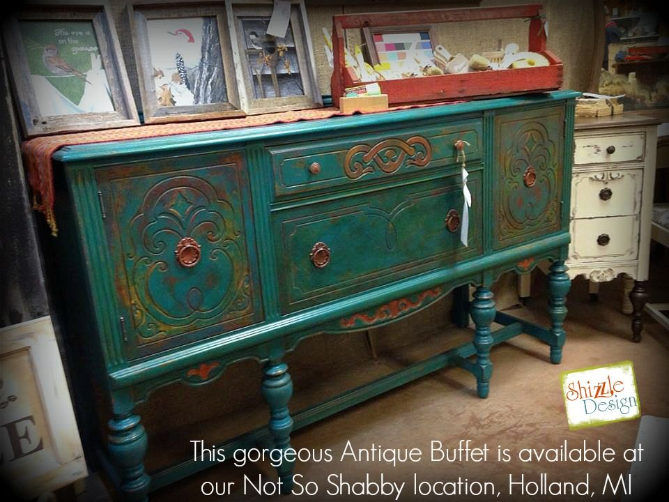 American Paint Company s retailer where to buy Peacock chalk clay painted  antique buffet Shizzle Design 2018. American Paint Company s retailer where to buy Peacock chalk clay