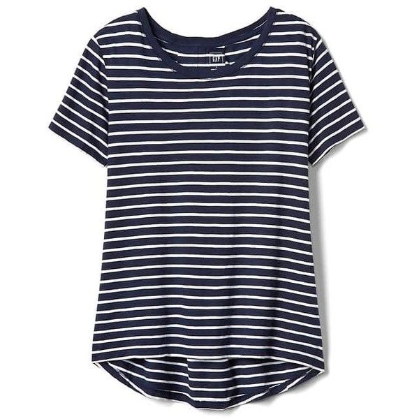 734dc68b3805d1 Gap Women Stripe Pleat Back Boatneck Tee ($24) ❤ liked on Polyvore  featuring tops, t-shirts, navy stripe, regular, gap t shirts, navy blue tee,  ...