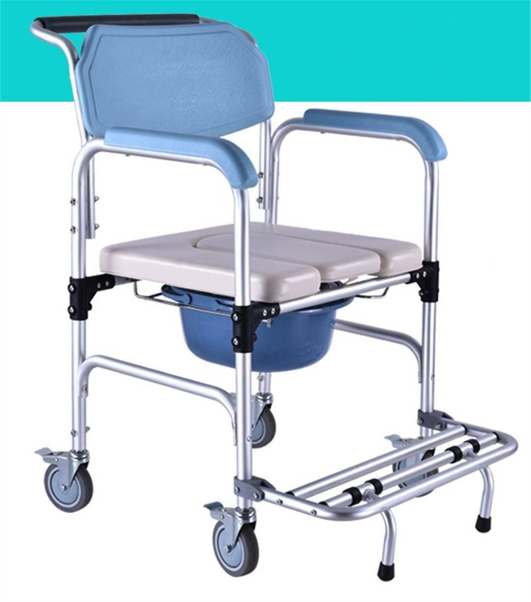 Us 3 In 1 Commode Wheelchair Bedside Toilet Shower Seat Bathroom Rolling Chair Ebay Shower Commode Chair Shower Seat Commode Chair