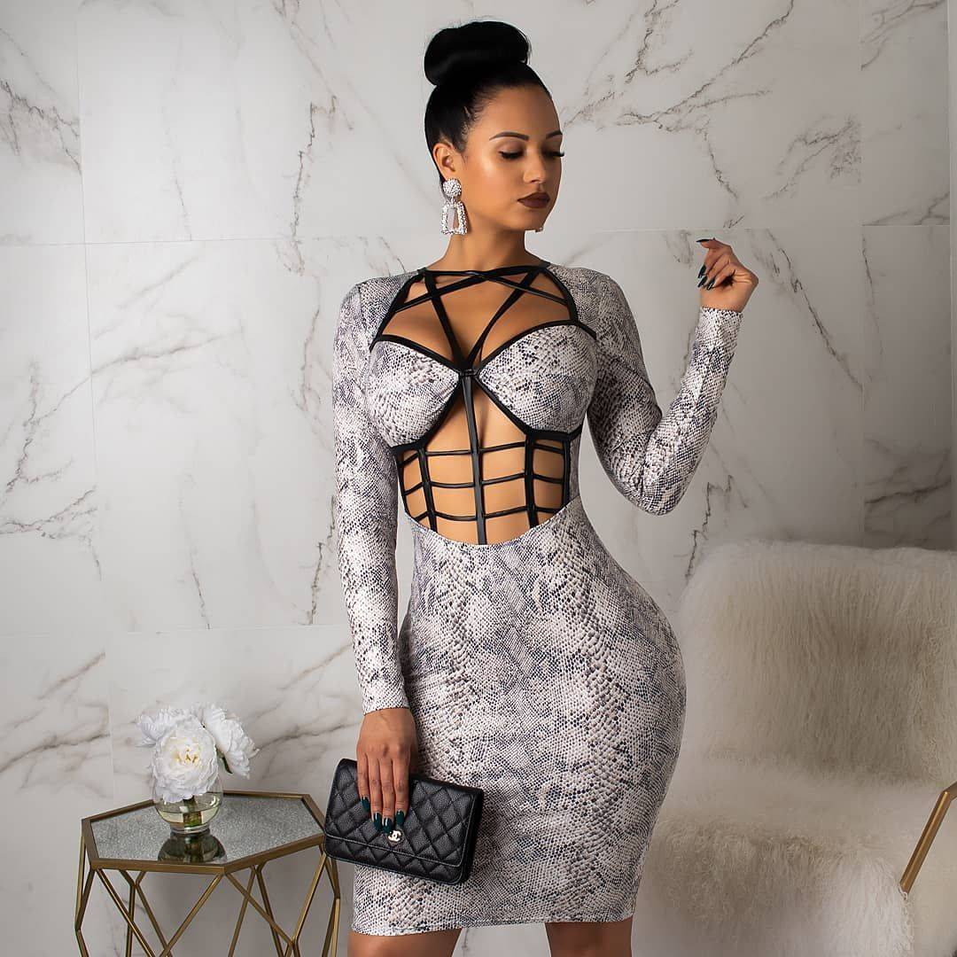 """9c4befcaed3 Diva Boutique on Instagram  """"Lil caged snake mini 😍😍 🔥🔥🔥 . . www. DivaBoutiqueOnline.com . . . Search  Wrapped Up Snake Mini Dress ."""