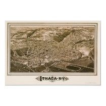 Ithaca, NY Panoramic Map - 1882 Posters by lc_maps