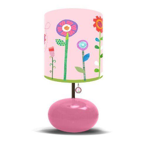 Amazon Com Oopsy Daisy Fine Art For Kids Lw Flrgdn Pink Flower Garden Girl S Bedroom Lamp Home Decorative Night Lights Childrens Night Light White Lamp Base