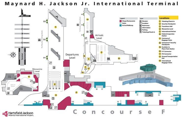 Atlanta Airport International Terminal F Map Atlanta Airport Airport Hartsfield Jackson Atlanta International Airport
