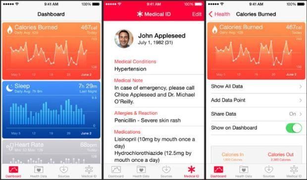 iOS 8 Features, Functions Health app, Apple health