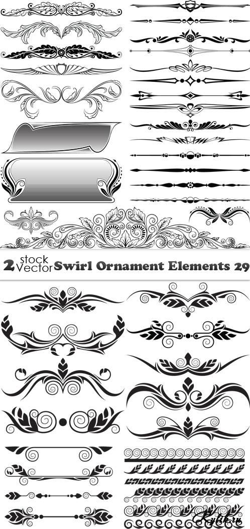 Декоративные элементы с растительными узорами. Swirl Ornament Elements