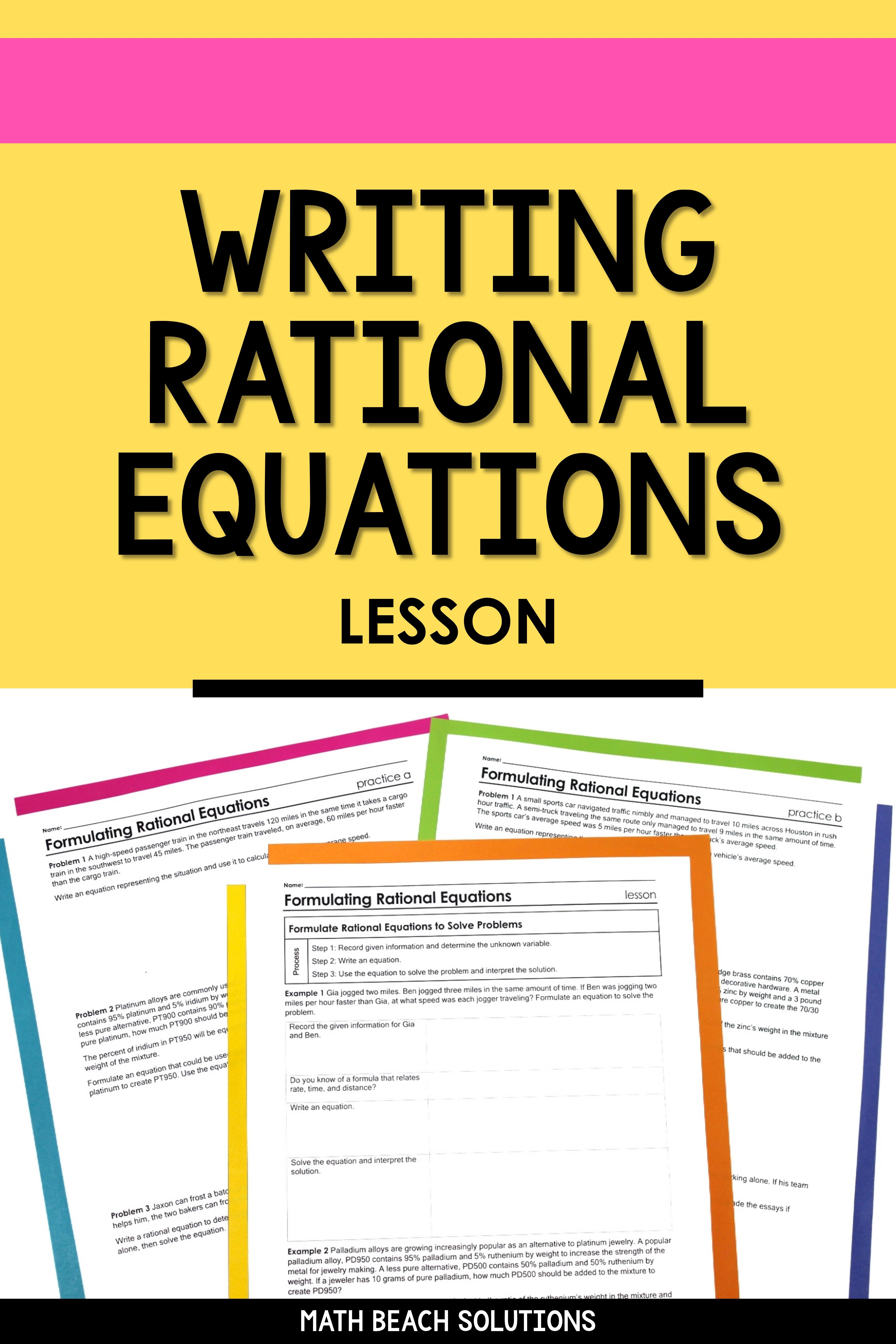 Formulating Rational Equations Lesson