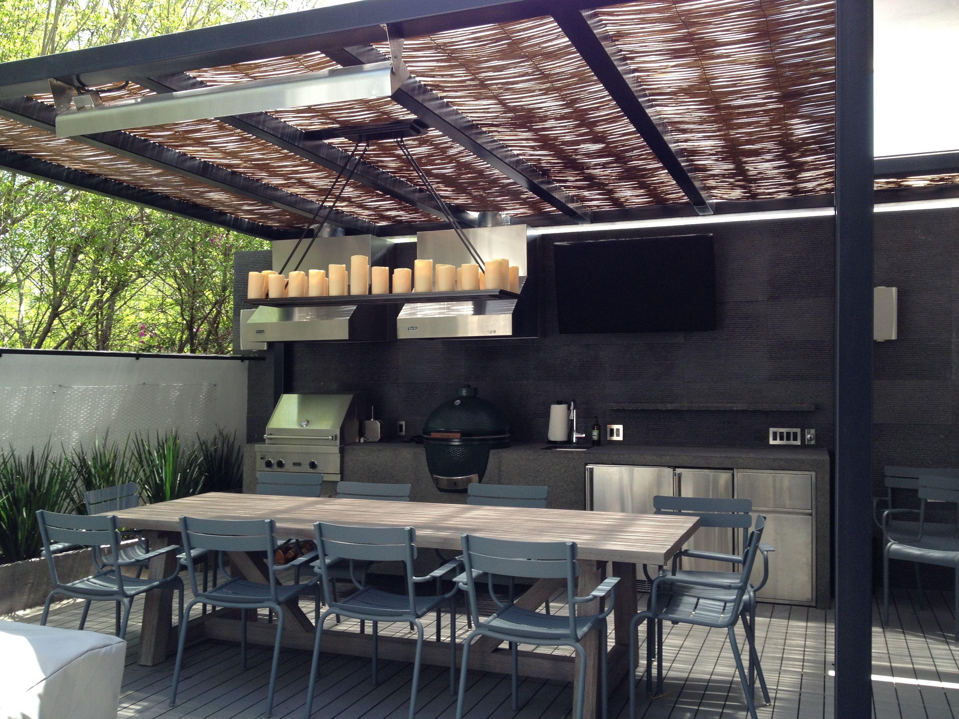 Techo pergola metal exteriores pinterest asador for Techos patios exteriores