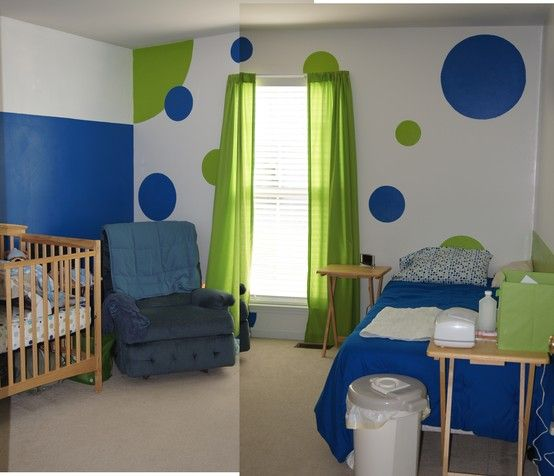 It's two pictures put together, but you can see how the circles and wall were painted. 2/3 blue wall, 1/3 green wall, and one circle wall.