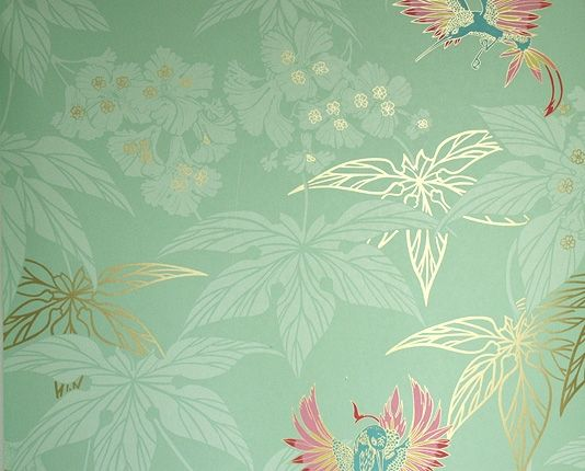 Grove Garden Wallpaper Mint green wallpaper with gold and paler mint leaf design and colourful hummingbirds dancing between the leaves