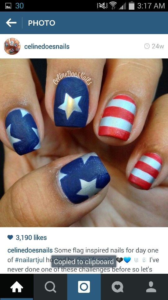July Nails Image By Katie Griffith On Nail Art Patriotic Nails