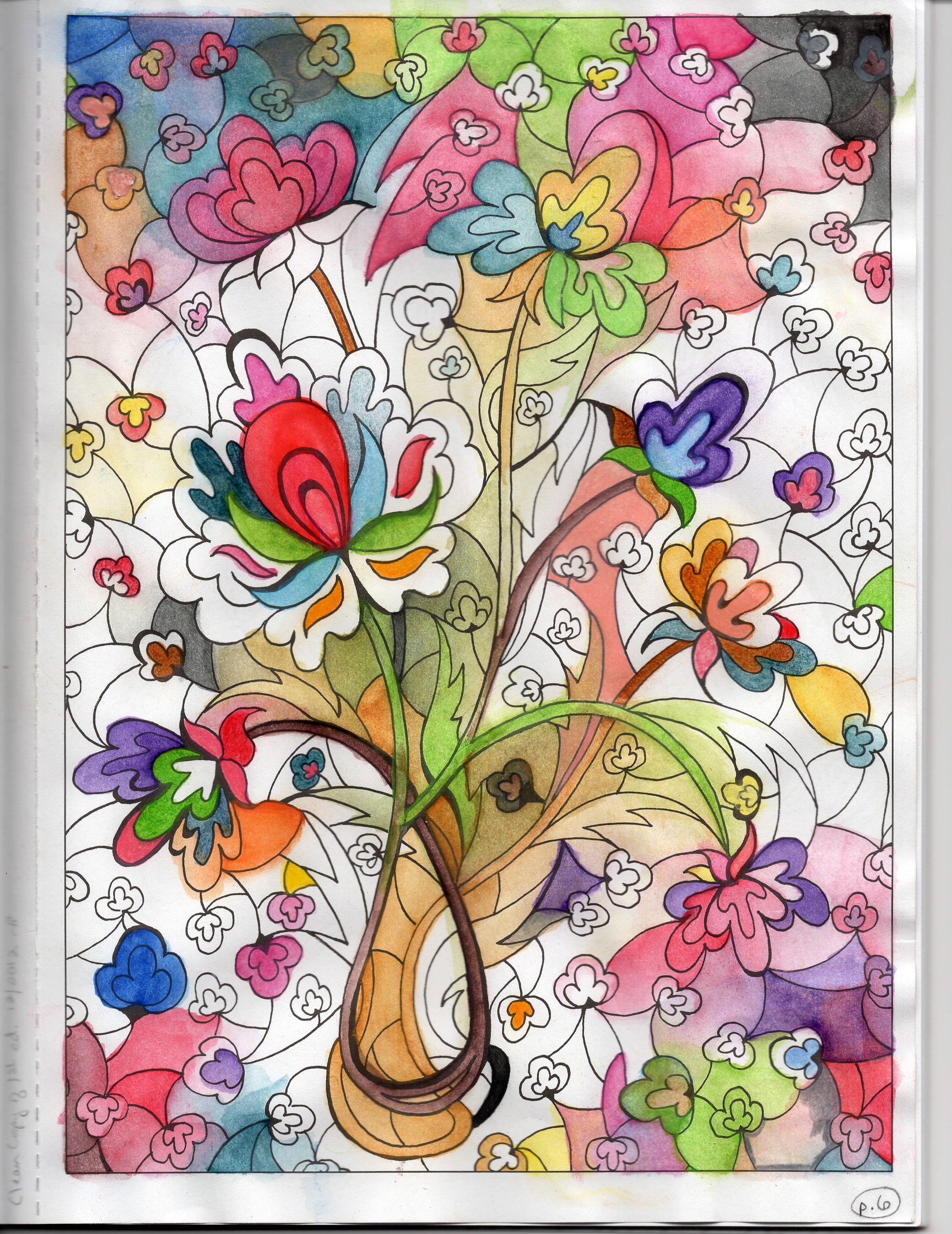 wip from creative haven dreamscapes coloring book by miryam adatto dover pub watercolor - Watercolor Coloring Book