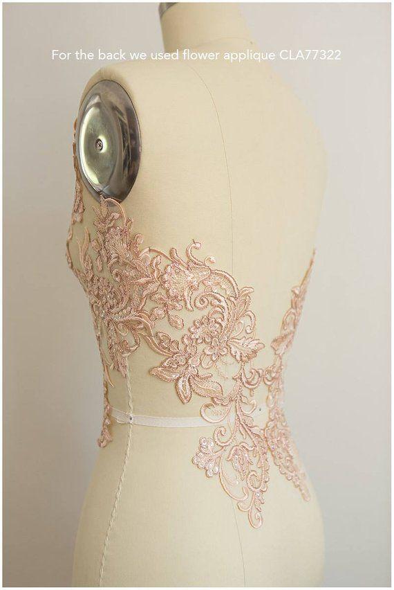 1 paar Floral Hochzeit Motiv Braut Lace Embroideried Spitze Applique Trim