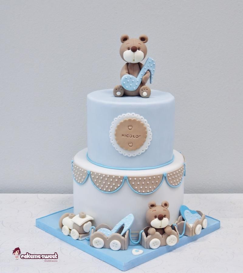 Baby boy christening cake by naike lanza cakes cake for Baby boy cake decoration