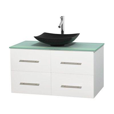 "Wyndham Collection Centra 42"" Single Bathroom Vanity Set Base Finish: Matte White"